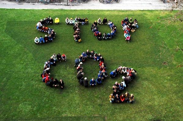 Stop CO2 - Menschenbanner
